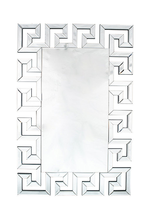 Silver Mirrored Glass Oblong Wall Mirror