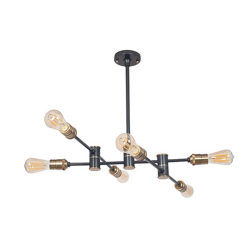 Black and Brass Metal Six Light Pendant