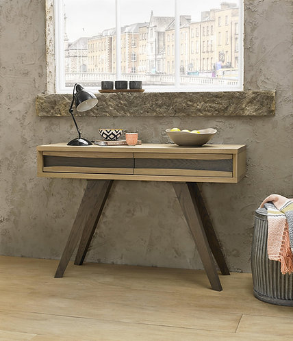 Cadell Aged and Weathered Oak Console Table With 2 Drawers