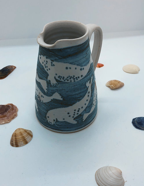 Coastal Hand Crafted Pottery Seal Collection Small Cone Jug