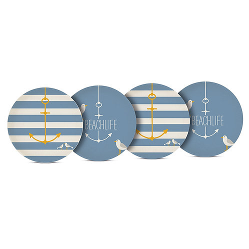 Set of 4 Bamboo Beach Life Plates