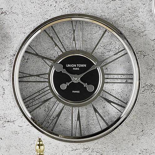 Metallic Silver Round Wall Clock