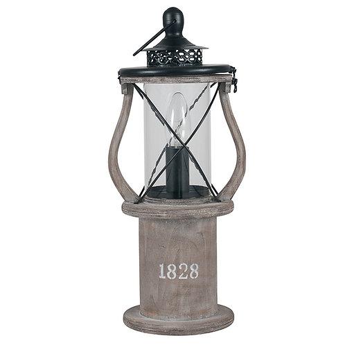 Antique Wood Lantern Table Lamp