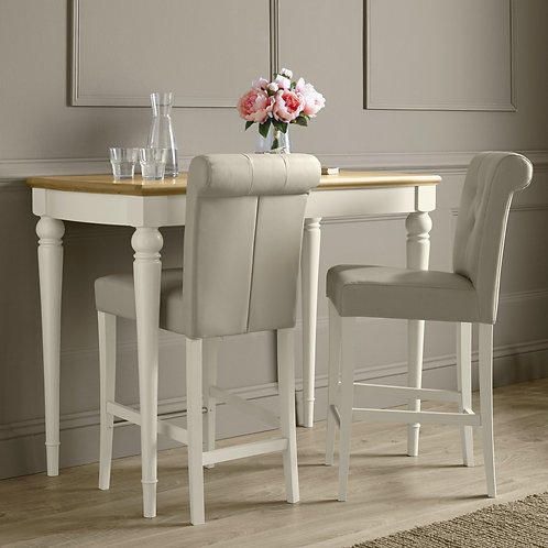 Montreux Antique White Upholstered Bar Stool - IvoryBonded Leather (Pair)