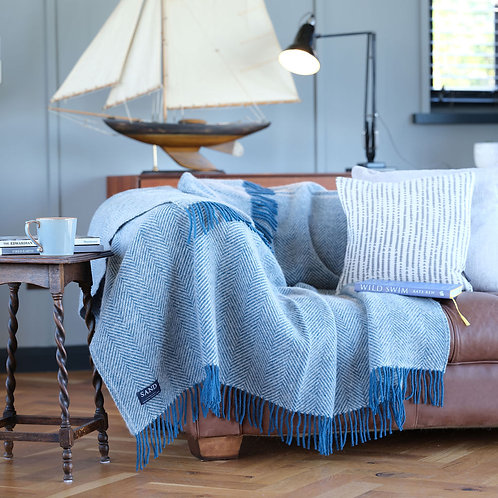 Ink & Silver Herringbone Pure New Wool Sand Blanket
