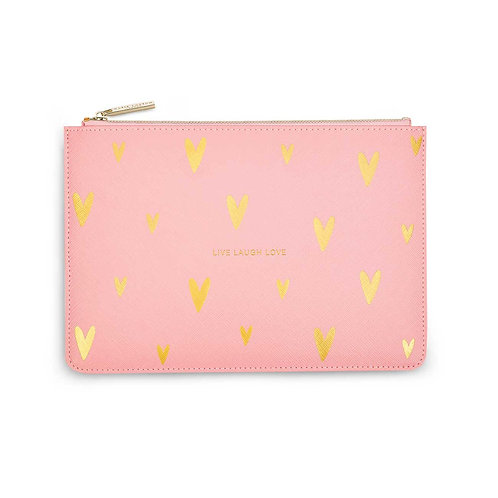 GOLD PRINT PERFECT POUCH | LIVE LOVE SPARKLE | PINK