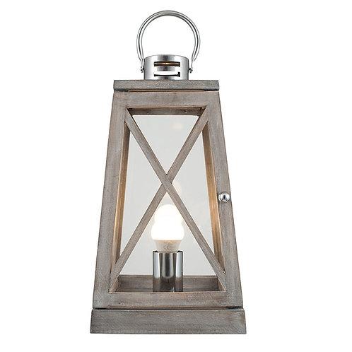 Grey Wood and Chrome Lantern Table Lamp