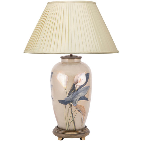 Arum Lily Large Urn Glass Table Lamp