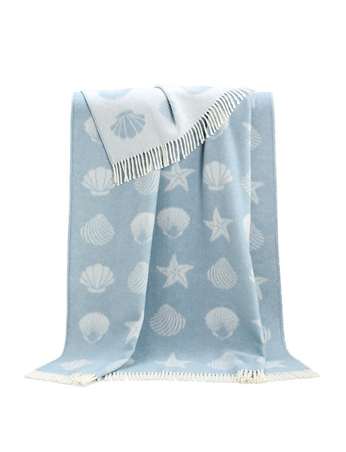 Double Sided Wool Seashell Throw with Reversed Out Design