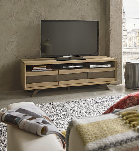 Cadell Aged and Weathered Oak Entertainment Unit With 3 Drawer