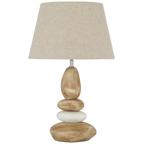 Small Natural Ceramic Pebble Table Lamp & Shade sand cornwall