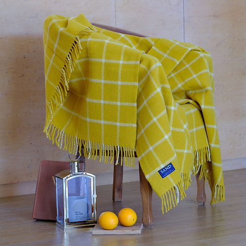 Yellow Chequered Check Pure New Wool Sand Blanket