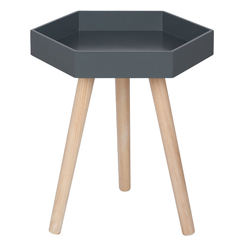 Grey MDF & Natural Pine Wood Hexagon Table