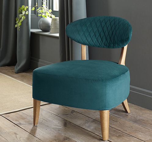 Sea Green Velvet Fabric Margot Casual Chair