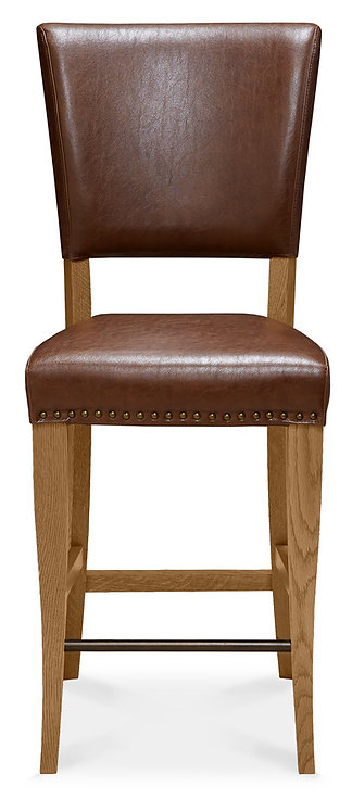 Rustic Oak Bar Stool Rustic Tan Faux Leather (Pair)