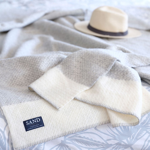 Crossweave Cream Pure New Wool Blanket/Throw