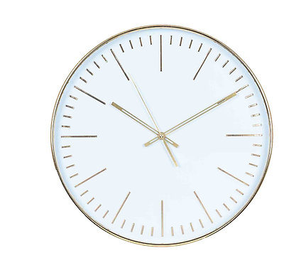 Gold & White Round Wall Clock