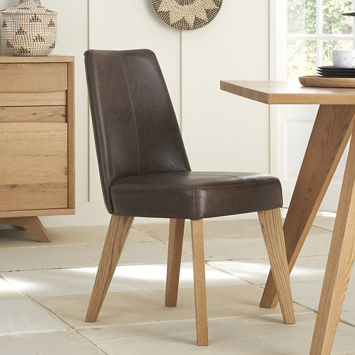 Cadell Rustic Oak Upholstered Dining Chair-Rustic Espresso Faux Leather (Pair)