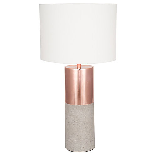 Copper Metal and Concrete Table Lamp pacific lifestyle sand cornwall