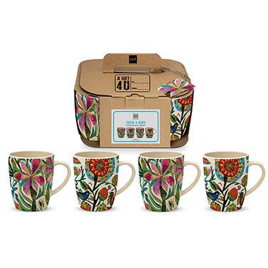Mug Set of 4 Bamboo Cuzco Design