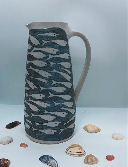 Coastal Hand Crafted Pottery Fish Collection Large Cone Jug