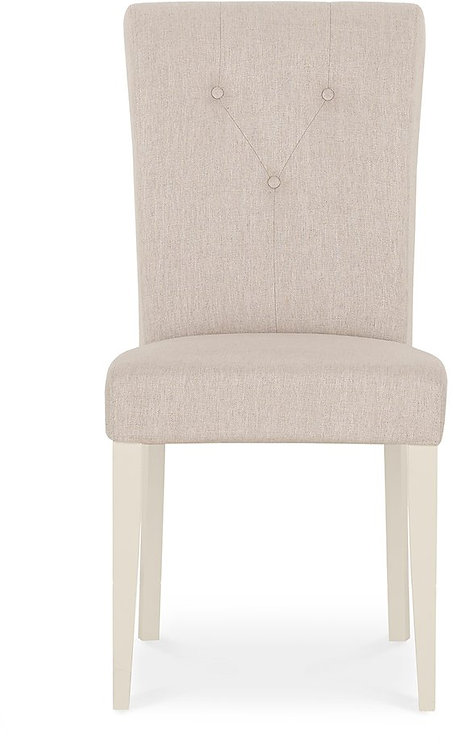 Montreux Antique White Upholstered Chair - Sand Fabric (Pair)