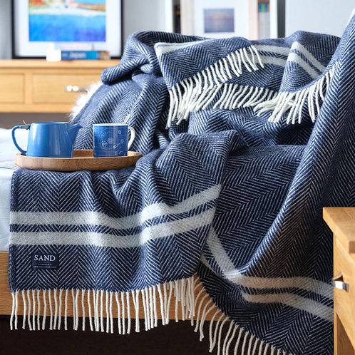 Navy & Silver Grey Fishbone 2 Stripe Pure New Wool Sand Blanket