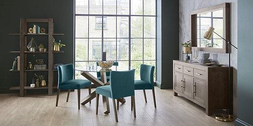Turin Dark Oak Low Back Uph Chair Sea Green Velvet Fabric (Pair)