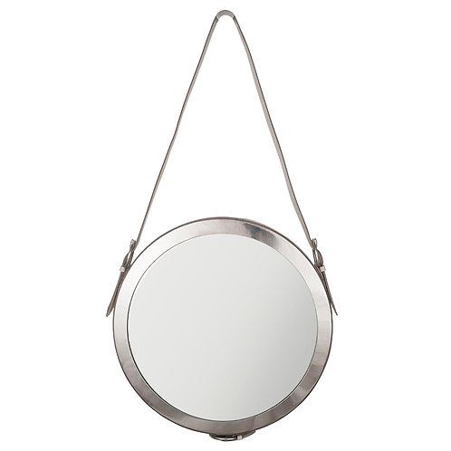 Shiny Nickel & White Leather Round Wall Mirror