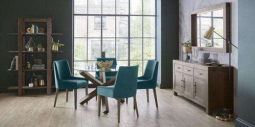Turin Dark Oak Circular Glass Dining Table