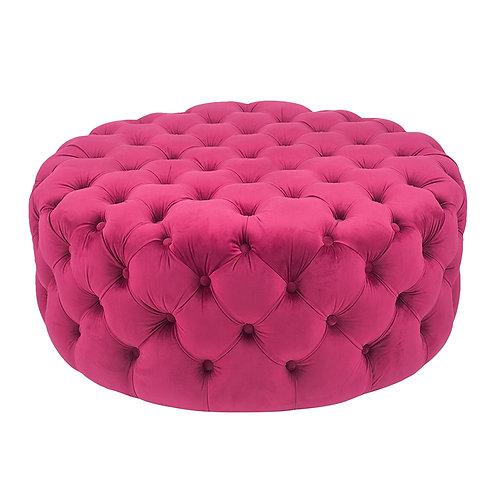 Raspberry Velvet Round Buttoned Pouffe