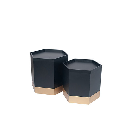 Black & Gold Wood Set of 2 Hexagon Storage Boxes sand cornwall