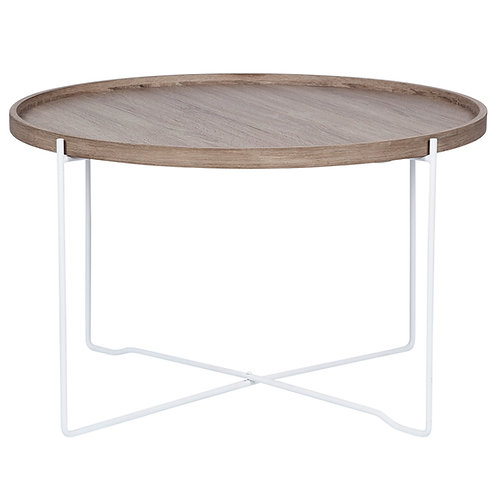Natural Wood & Iron Round coffee Table sand cornwall