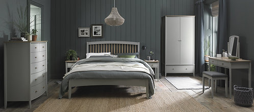 Whitby Scandi Oak and Grey Low Footend Bedstead Double 135cm