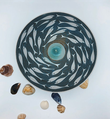 Coastal Hand Crafted Pottery Fish Collection Large Bowl