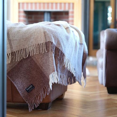 Jacob Block Check Pure New Wool Sand Blanket