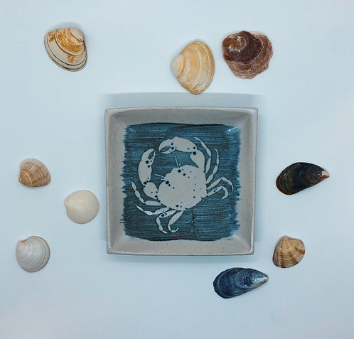 Coastal Hand Crafted Pottery Crab Collection Small Slab Dish
