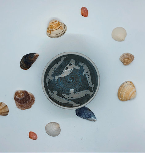 Coastal Hand Crafted Pottery Seal Collection Shallow Dish