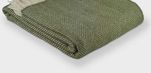 Olive Fishbone Pure New Wool Sand Blanket
