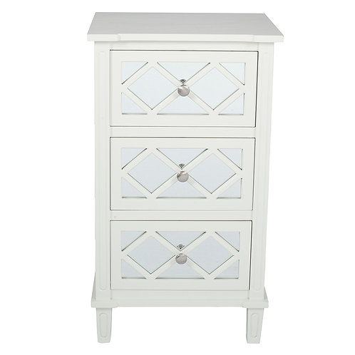 Ivory Mirrored Pine Wood 3 Drawer Unit