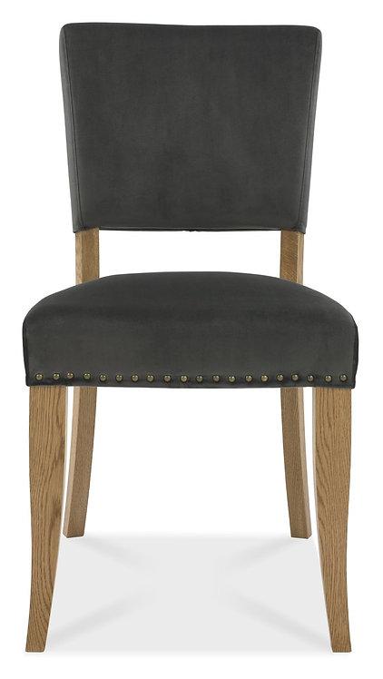 Rustic Oak Upholstered Chair - Gun Metal Velvet Fabric (Pair)