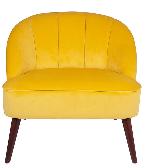 Ochre Velvet  Chair with Walnut Effect Legs