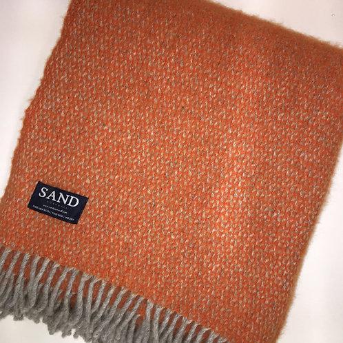 Illusion Pure New Wool tweedmill Blanket Pumpkin sand cornwall