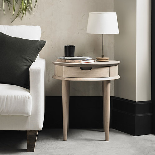 Dansk Scandi Oak Lamp Table With Drawer