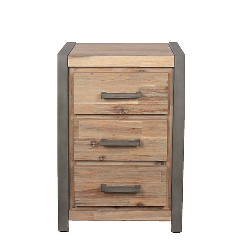 The Botallack Collection Wood & Metal 3 Drawer Bedside Unit