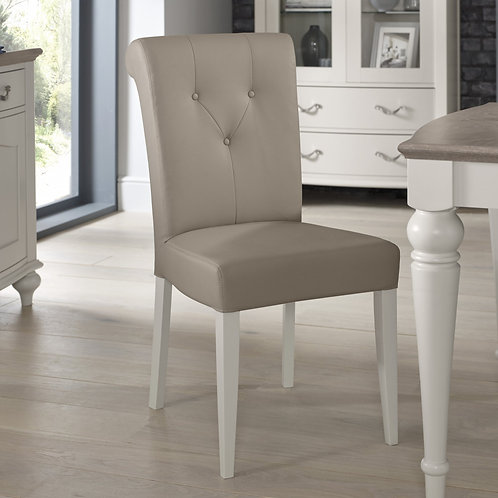 Montreux Soft Grey Upholstered Grey Bonded Leather Chair (Pair)