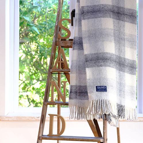 Lamorna Cove Coastal Check Pure New Wool Sand Blanket