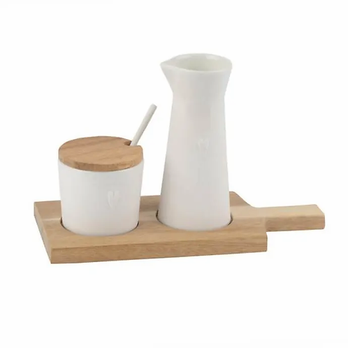 Milk and Sugar Pot on a Wood Board