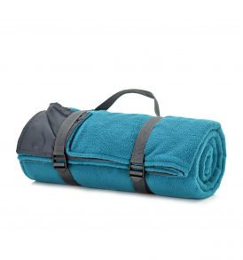Teal Outdoor Plain Fleece Rug Roll