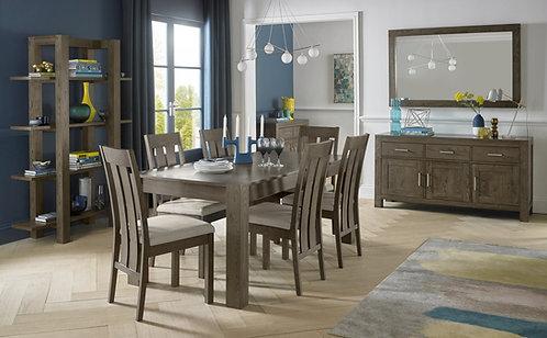 Turin Dark Oak Slatted Chair - Pebble Grey Fabric (Pair)